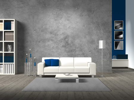 Photo pour modern living room with white sofa fictitious and copyspace for your own photos image.The the photos in the background are taken by me - no rights are Infringed - image libre de droit