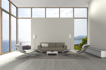 Photo pour fictitious modern living room with a view to the sea - image libre de droit