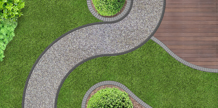 Foto de foot path through the garden in aerial view - Imagen libre de derechos