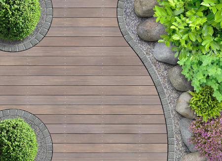 Photo for aesthetic garden designer detail with rocks in aerial view - Royalty Free Image