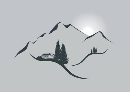Illustration pour illustration of an alpine mountain landscape with chalet, firs and sun - image libre de droit