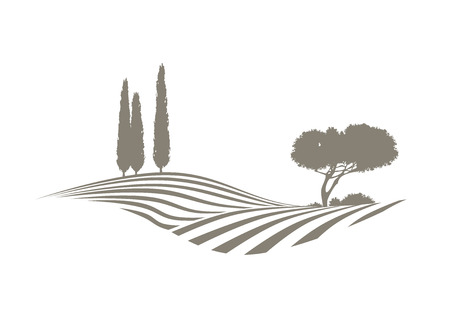 Illustration pour rural Mediterranean landscape with plowed fields, cypresses and pine tree - image libre de droit