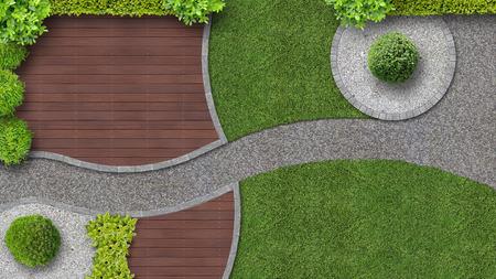 Photo pour modern garden design with terrace in top view - image libre de droit