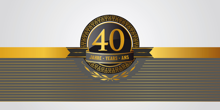 Illustration for golden festive vector pictogram for 40th anniversary, jubilee or birthday - Royalty Free Image