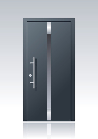 Illustration for trendy dark grey vector front door with glass windows and steel applications - Royalty Free Image