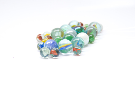 Photo for Colorful glass marbles isolated on white background - Royalty Free Image