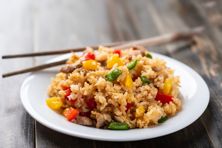 Photo for Fried rice with vegetables and pork, Asian cuisine - Royalty Free Image