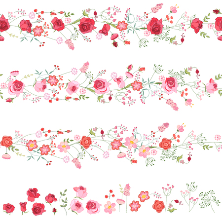 Illustration pour Endless horizontal borders with cute red and pink roses. Seamless pattern brushes. For romantic and wedding design, announcements, greeting cards, posters, advertisement. - image libre de droit