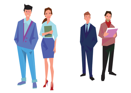 Ilustración de Four office workers, employees, managers. Business people stand. Isolated on white. Business Icons. Business design Vector - Imagen libre de derechos
