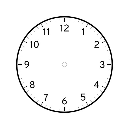 Illustration pour Empty printable clock face template isolated on white background - image libre de droit
