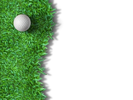 White golf ball on green grass isolated on white with shadow background for web page