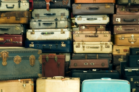 Foto per A lot of Old vintage suitcases  - Immagine Royalty Free