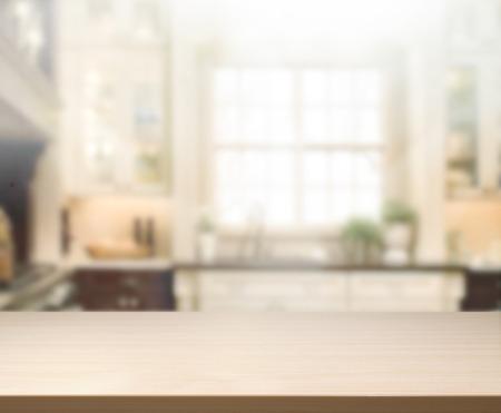 Foto de Table Top And Blur Interior of Background - Imagen libre de derechos