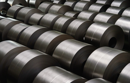 Photo pour Cold rolled steel coil at storage area in steel industry plant. - image libre de droit