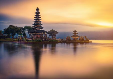 Photo for Pura Ulun Danu Bratan, Hindu temple on Bratan lake landscape at sunrise in Bali, Indonesia. - Royalty Free Image