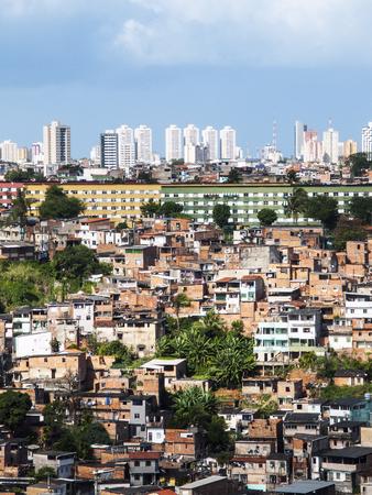 Photo for Poor neighborhood and modern buildings of Salvador Bahia, Brazil - Royalty Free Image