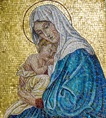 Photo pour Mosaic of Virgin Mary with Child Jesus - image libre de droit