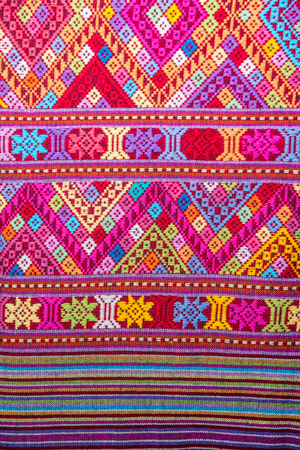 Photo for Closeup vintage cotton fabric texture background, Thai style - Royalty Free Image