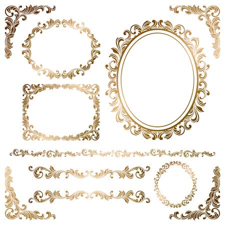 Ilustración de Set of gold frames - Imagen libre de derechos