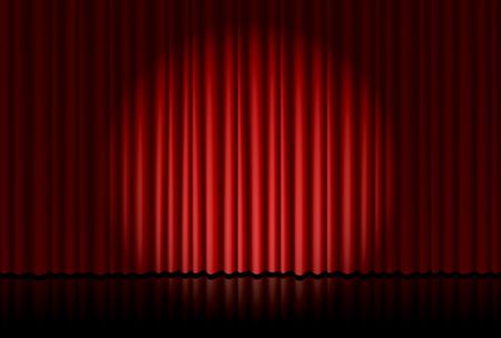 Illustration pour Spotlight on red curtain - image libre de droit