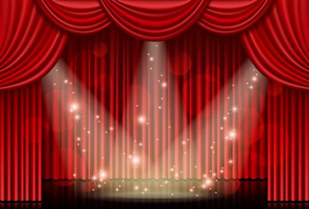 Illustration pour Red curtain with spotlights - image libre de droit