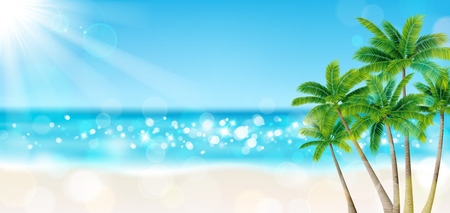 Illustration for Palm trees on the beach - Royalty Free Image
