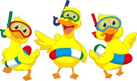 Illustrazione per happy cartoon duck with buoys - Immagini Royalty Free