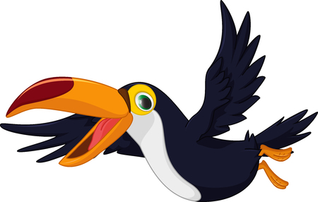 Illustration pour cute cartoon toucan bird flying - image libre de droit