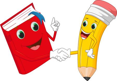 Illustration pour Cartoon pencil and books shake hands - image libre de droit