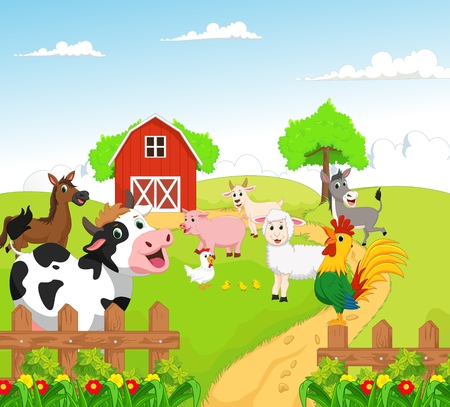 Photo pour collection of farm animals with background - image libre de droit