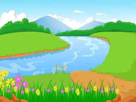Ilustración de Illustration of a forest with a river and flower - Imagen libre de derechos