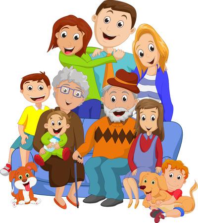 Illustration pour Big family with grandparents - image libre de droit