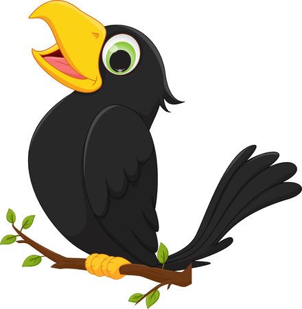 Photo pour cartoon crow sitting on tree branch - image libre de droit