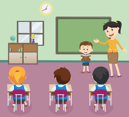 Illustration pour Illustration of Students boy reading book in front of Classroom. - image libre de droit