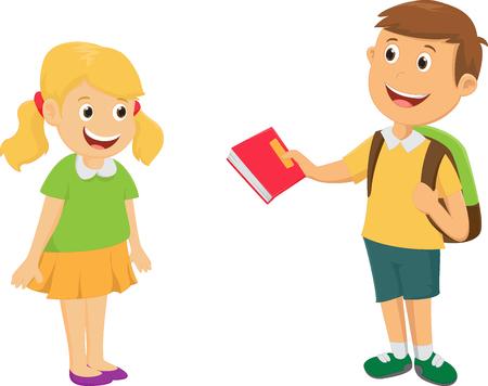 Illustration pour boy give a book to friend - image libre de droit