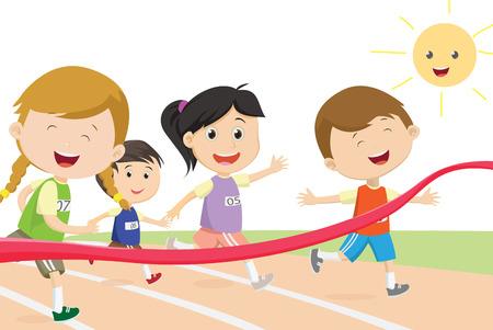 Ilustración de Happy kids sprinter coming first to finish line - Imagen libre de derechos