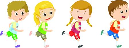 Ilustración de Happy kids running marathon together - Imagen libre de derechos