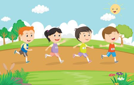 Ilustración de happy kids running marathon together in the park - Imagen libre de derechos