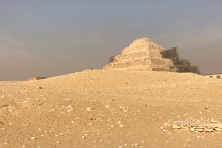 Foto de Pyramids of giza. Great pyramids of Egypt. The seventh wonder of the world. Ancient megaliths - Imagen libre de derechos