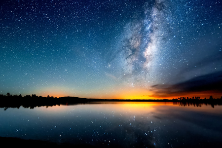 Photo for The starry sky, the milky way. Photo of long exposure. Night landscape. - Royalty Free Image