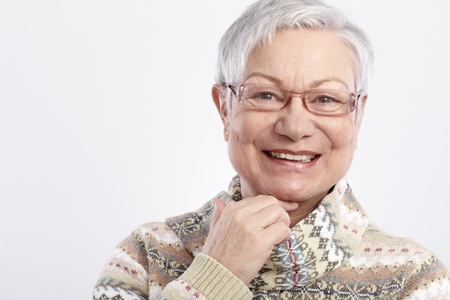 Photo for Closeup portrait of smiling elderly woman in glasses. - Royalty Free Image