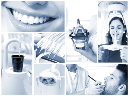 Photo for Image mosaic of dental photos in hightech dentist's surgery. - Royalty Free Image