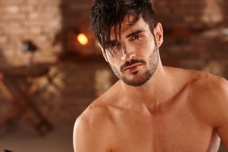 Photo for Closeup photo of sexy latin man with bare chest, looking at camera. - Royalty Free Image