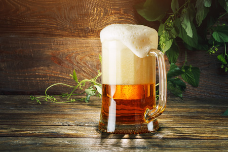 Photo pour A glass of fresh beer and green hops on a wooden table. - image libre de droit