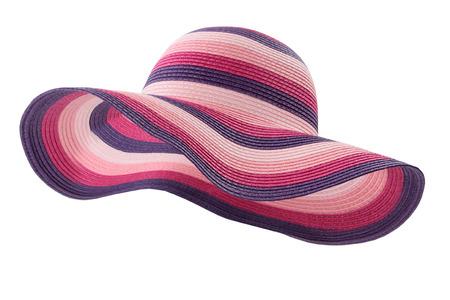 Foto de colored beach hat on white background - Imagen libre de derechos