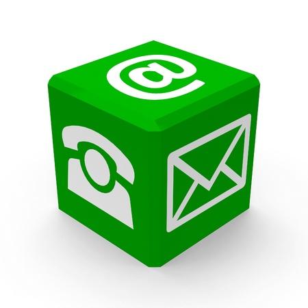 Photo pour Green web contact buttons is communication, three-dimensional rendering - image libre de droit