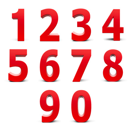 Photo for Red numbers set from 0 to 9 isolated on white background, three-dimensional rendering - Royalty Free Image