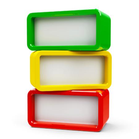 Photo pour Three color rectangle - represents three steps, three-dimensional rendering - image libre de droit