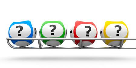 Foto de Lottery balls with questions on a metal basis, three-dimensional rendering - Imagen libre de derechos