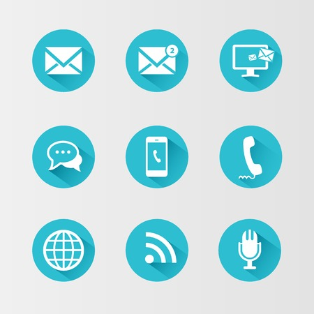 Illustration pour Communication icons on a blue circle and with a long shadow - image libre de droit